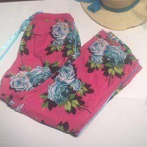 Pants - Pink &Blue DrawstringPantsFlowers &Satin RibbonTie